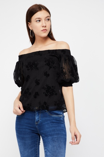 125217caea7462 GINGER Floral Patterned Off-Shoulder Semi-Sheer Top
