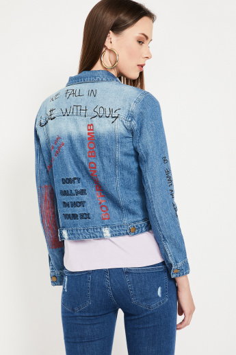 GINGER Typographic Embroidery Lightly Washed Denim Jacket