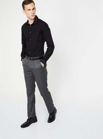 CODE Textured Low Rise Slim Fit Trousers thumbnail