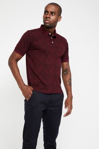 6ce2b841f9 VH SPORTS Slim Fit Printed Slub Polo T-shirt