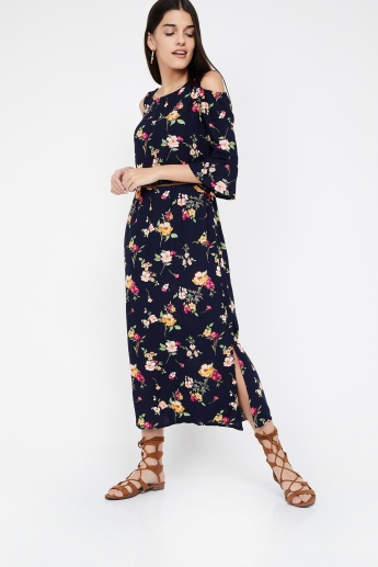 844fb4daa81aa BOSSINI Floral Print Cold-Shoulder Midi Dress with Belt