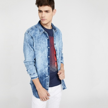1031649534 AÉROPOSTALE Regular Fit Acid Washed Denim Shirt