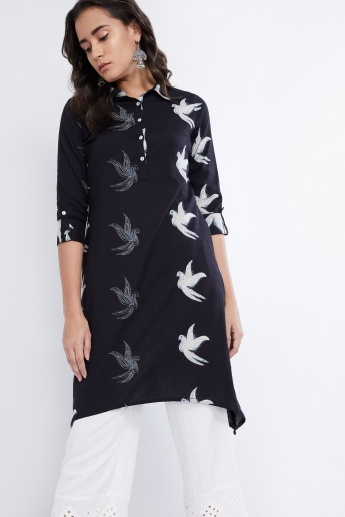 MAX Dipped Hems Bird Print Flared Kurta