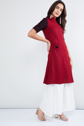 MAX Striped Mandarin Collar A-line Kurti