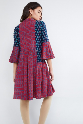 MAX Printed Bell Sleeve Dress