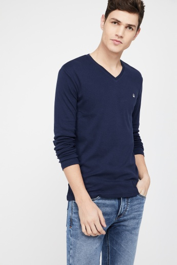 Neck V Benetton Slim T ShirtBlue Colors Of Fit United CdtshrQx