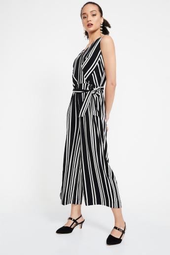 9a4c4d52892 CODE Surplice Neck Striped Sleeveless Jumpsuit