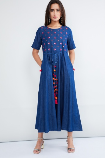 MAX Mirror-Work Embroidery Long Flared Kurta