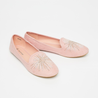 MELANGE Studded Ballerinas with Embroidery