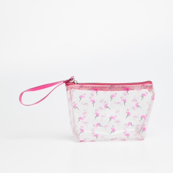 ac30365a89b74 GINGER Flamingo Print Transparent Pouch
