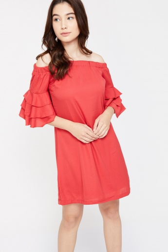 aa984de366a7 ELLE Ruffled Off-Shoulder Dress