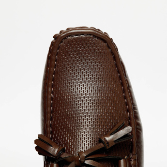 CODE Textured Bow Detail Loafers
