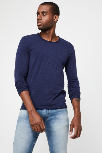 988af681 BEING HUMAN Textured Crew Neck Full Sleeves T-Shirt | Blue