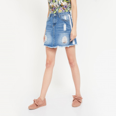 GINGER Lightly Washed Distressed Skort