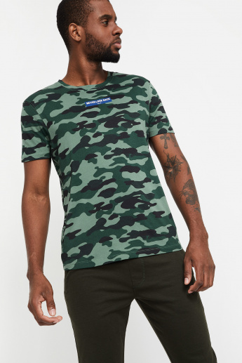 54e1fcab2aae WRANGLER Camouflage Print Regular Fit Crew-Neck T-shirt | Green