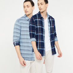 CELIO Checked Full Sleeves Regular Fit Shirt