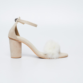 MONROW Faux Fur Detailed Block Heels
