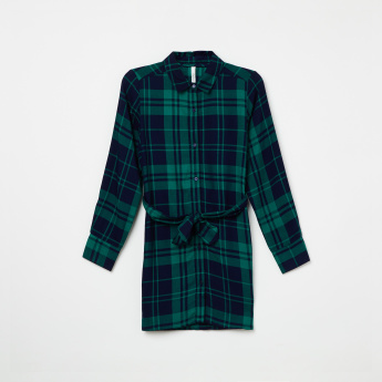 PEPE JEANS Checked Tie-Up Waist Shirt Dress