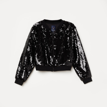 ALLEN SOLLY Bomber Jacket with Sequin Embellishments