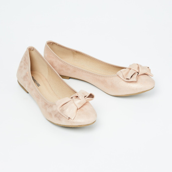 TRUFFLE COLLECTION Textured Ballerinas with Bow