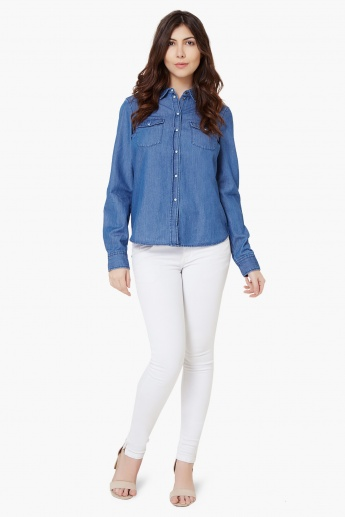 VERO MODA Full Sleeves Chambray Shirt