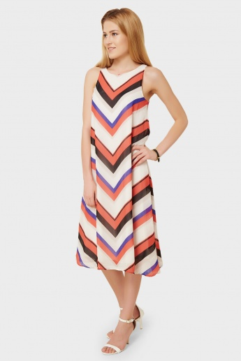 VERO MODA Printed Sleeveless Flared Fall Dress