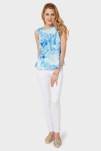 VERO MODA Printed Sleeveless Peplum Top