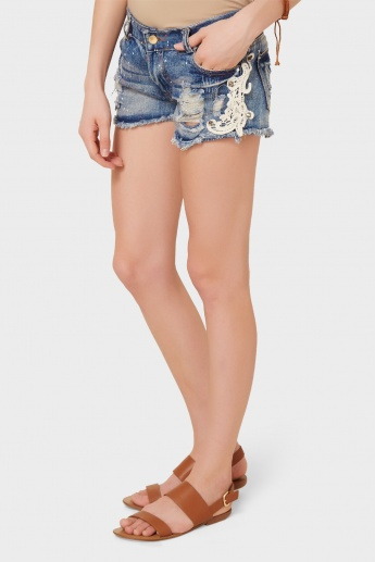 GINGER Paint Splatter Distressed Shorts