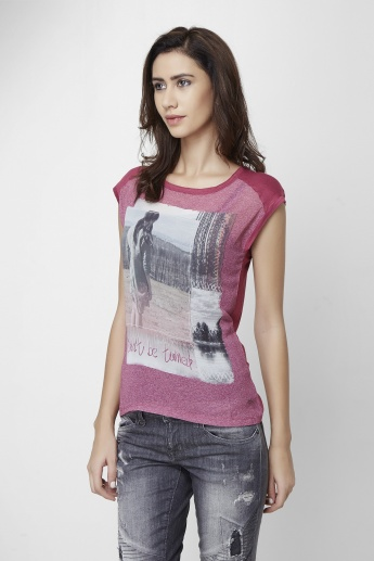 ONLY Graphic Print Round Neck Top
