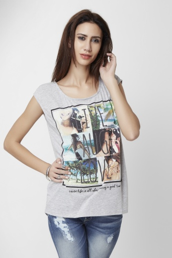 ONLY Live Laugh Love Round Neck Top