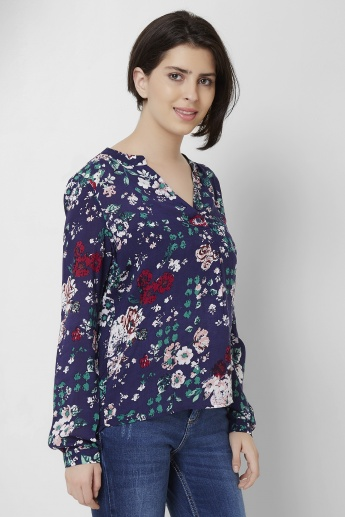 ONLY Printed Band Collar Full Sleeves Blouse