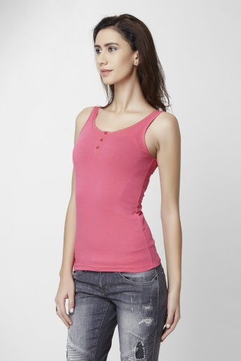 ONLY Lace Trim Solid Tank Top
