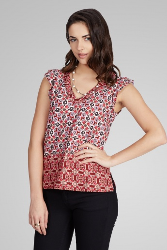 ONLY Floral Printed V-Neck Top