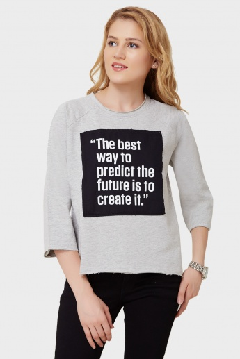 ONLY Quote Imprint Unfinished Hem Top