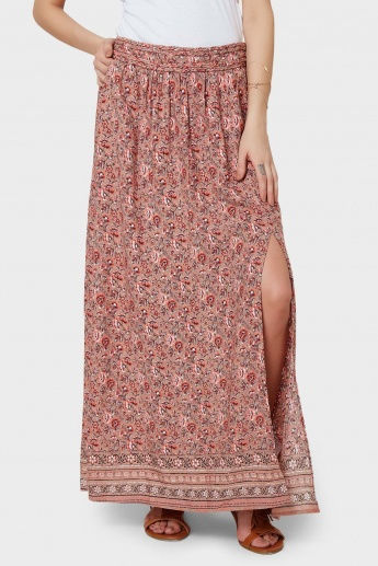 ONLY Slit-Up Printed Maxi Skirt