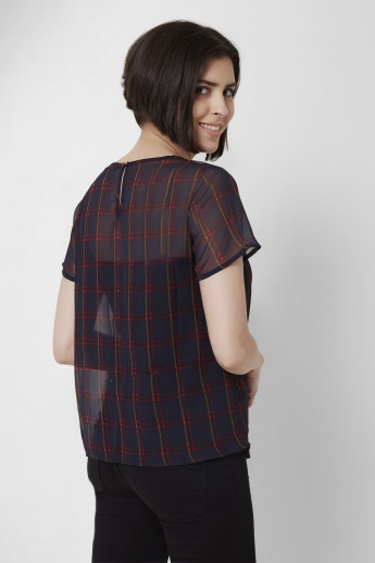 ONLY Plaid Checks Semi-Sheer Top