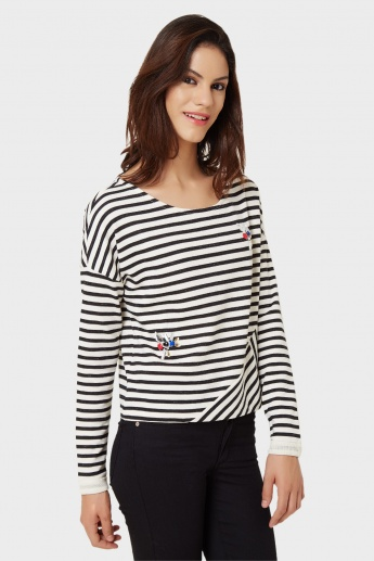 ONLY Striped Round Neck Full Sleeves Top