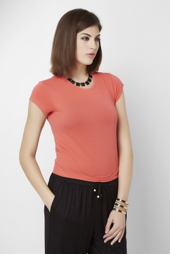 ONLY Solid Round Neck Slim Fit Top