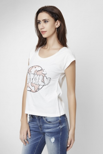 ONLY Printed Round Neck T-Shirt