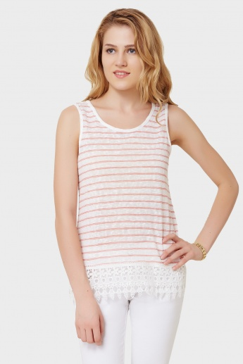 ONLY Striped Sleeveless Lace Trim Top