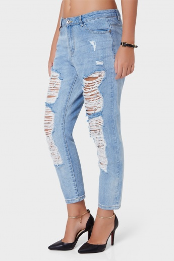 ONLY Light Wash Ripped Tattered Jeans