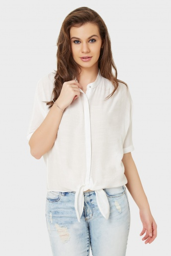 ONLY Solid Waist Tie-Up Shirt