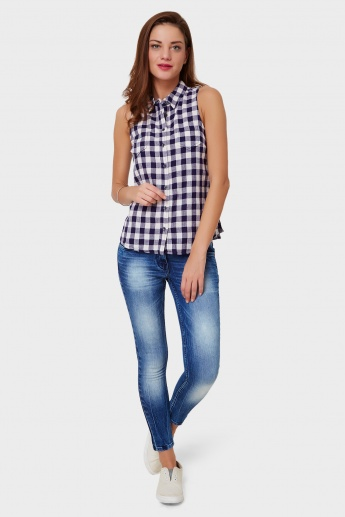 ONLY Gingham Check Sleeveless Shirt
