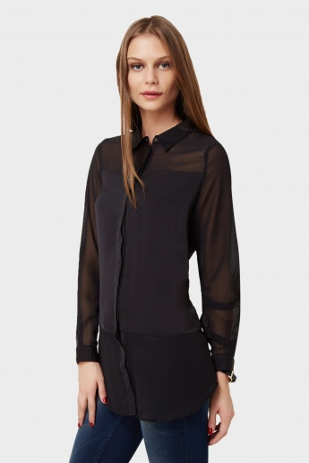 ONLY Solid Full Sleeves Blouse
