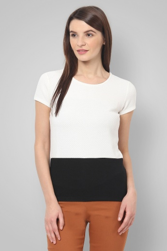UNITED COLORS OF BENETTON Monochrome Zip Detail Top