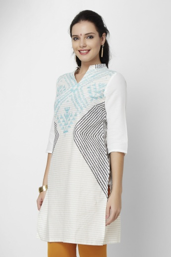 W Printed 3/4th Sleeves Kurta