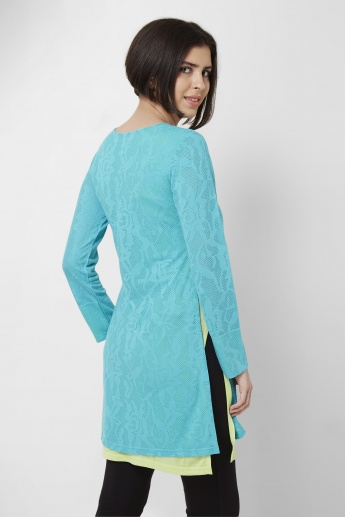 AND Solid Round Neck Full Sleeves Tunic