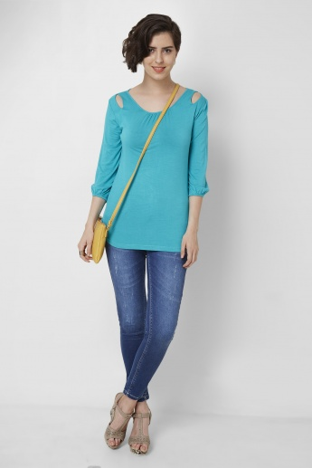 AND Cut- Out Solid Knitted Top