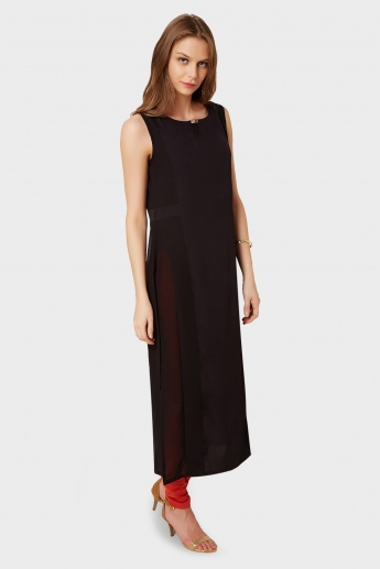 W Solid Sleeveless Long Kurta
