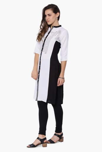 W Printed Band Collar Kurta